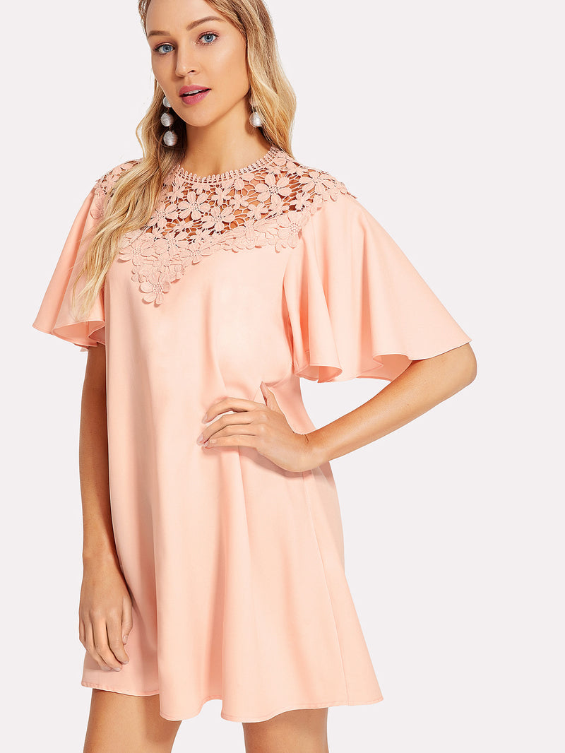 Floral Lace Yoke Flutter Sleeve Dress