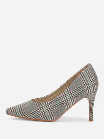 Gingham Print Pointed Toe Stiletto Heels