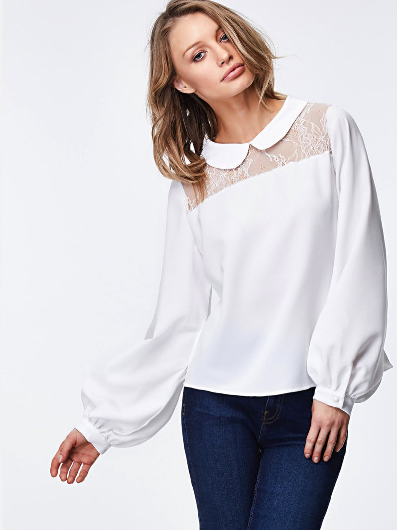 Lace Insert Knot Back Top