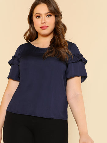 Ruffle Detail Sleeve Solid Blouse