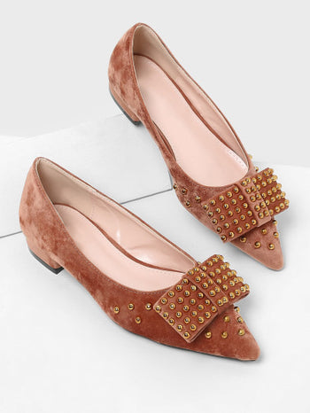 Studded Design Pointed Toe Flats