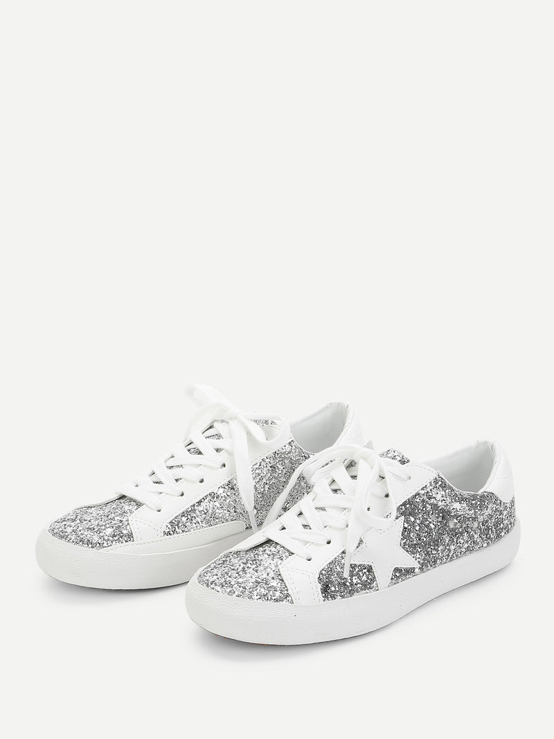 Star Patch Glitter Lace Up Sneakers