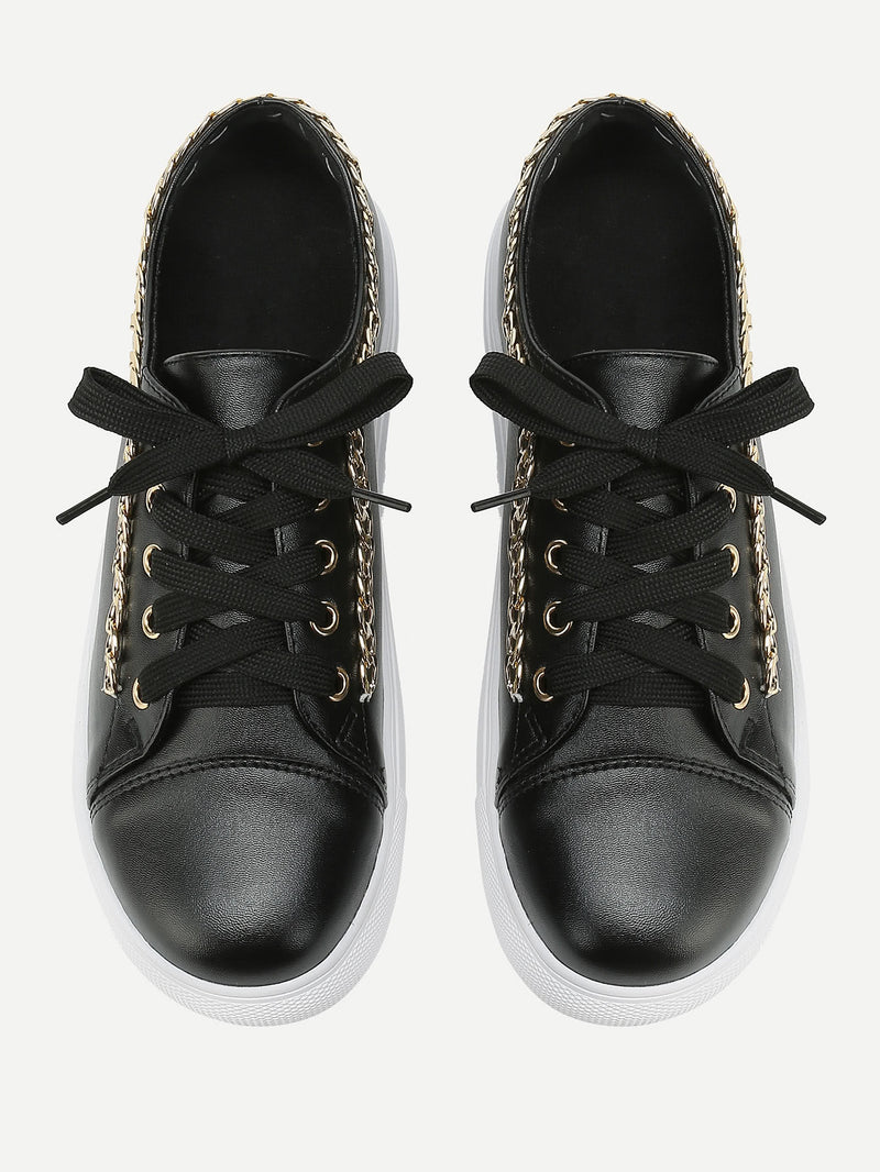 Chain Detail Lace Up Sneakers