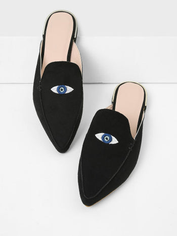 Embroidery Eye Pointed Toe Flats