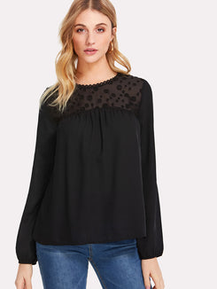 Dot Mesh Shoulder Top
