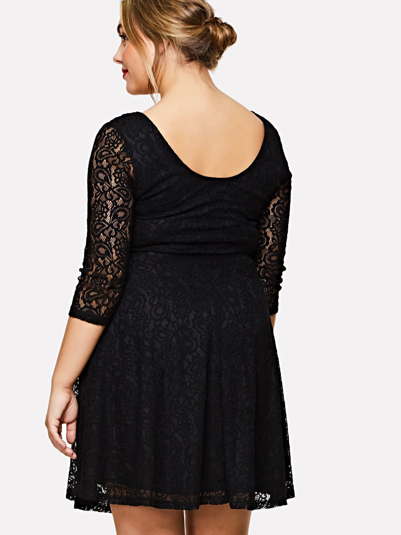 Fit & Flare Solid Lace Dress