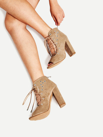 Grommet Detail Lace Up Ankle Boots