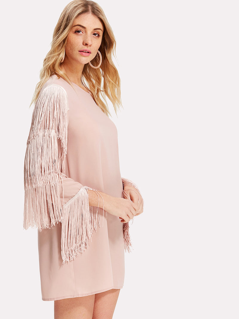 Tassel Detail Sleeve Keyhole Back Dress