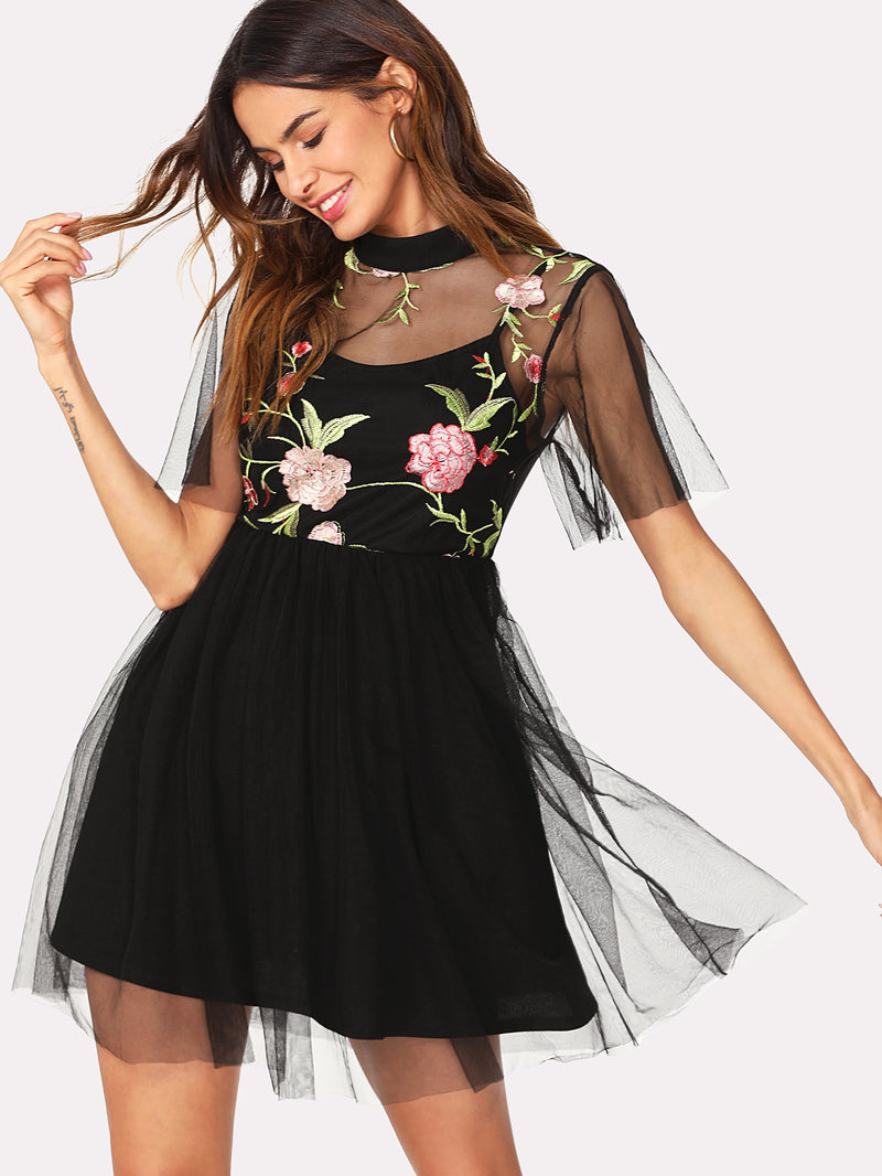Botanical Embroidered Mesh Overlay 2 In 1 Dress