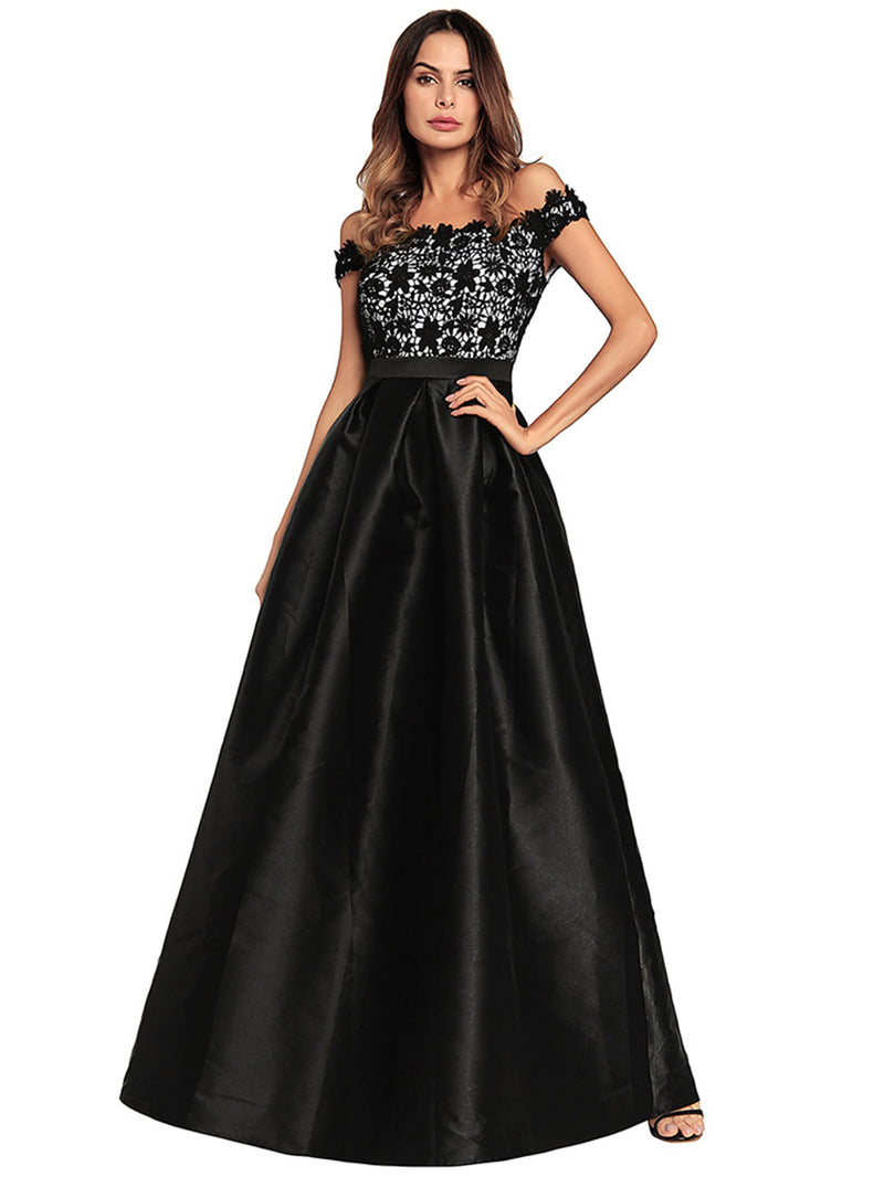 Off Shoulder Lace Contrast Longline Dress