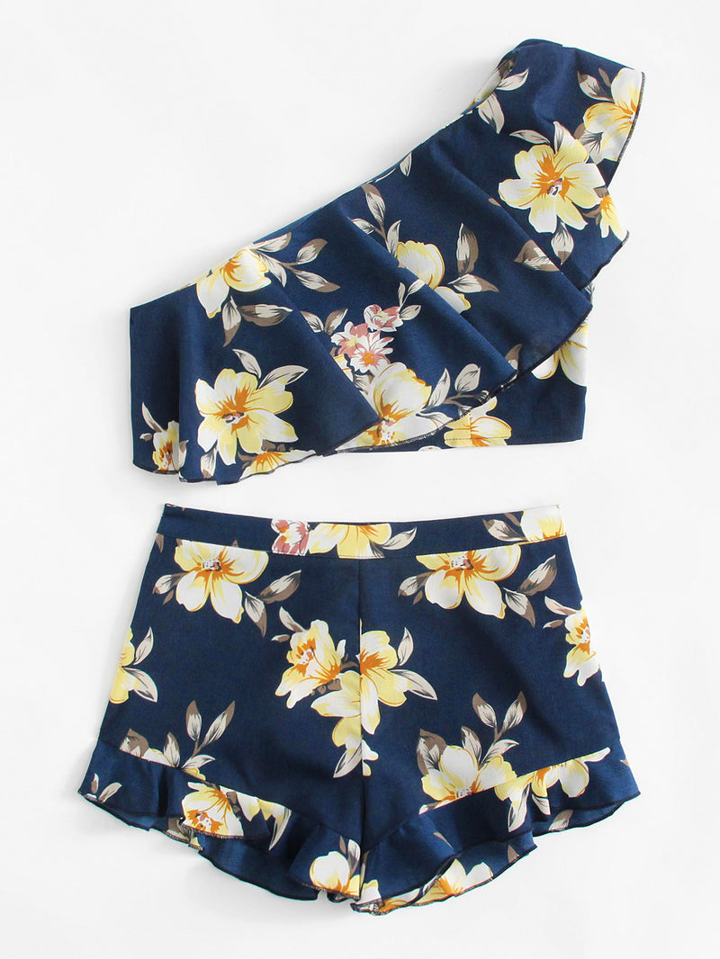 Flower Print One Shoulder Crop Top And Shorts Set
