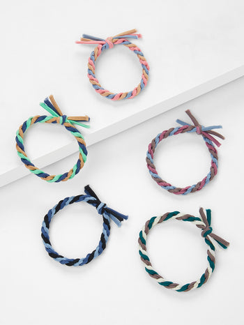 Colorblock Knot Hair Tie 5pcs