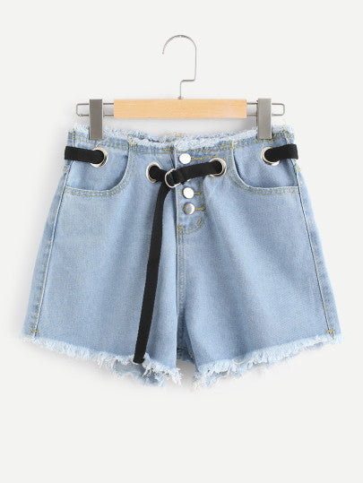 Raw Hem Denim Shorts With Belt