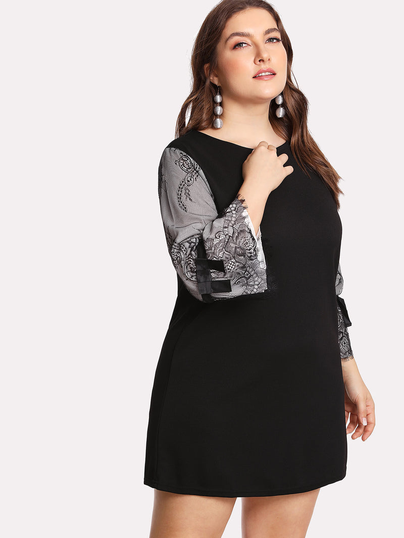 Contrast Lace Sleeve Dress