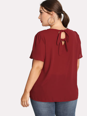 Pleated Neck Knot Back Top