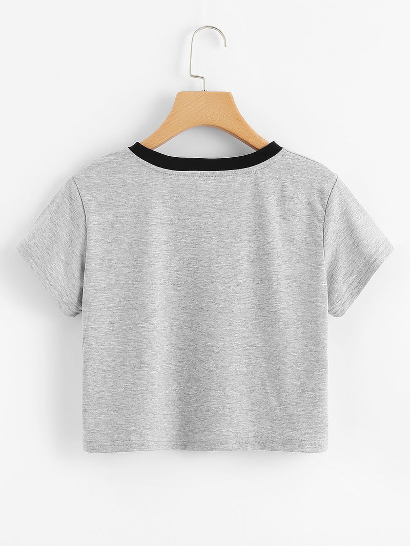 Contrast Neck Heather Knit Graphic T-shirt