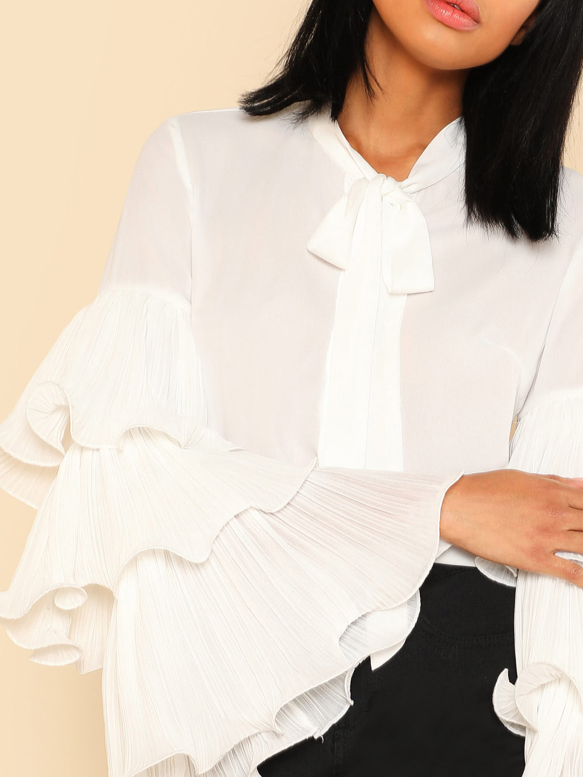 Exaggerated Layered Sleeve Tied Neck Blouse