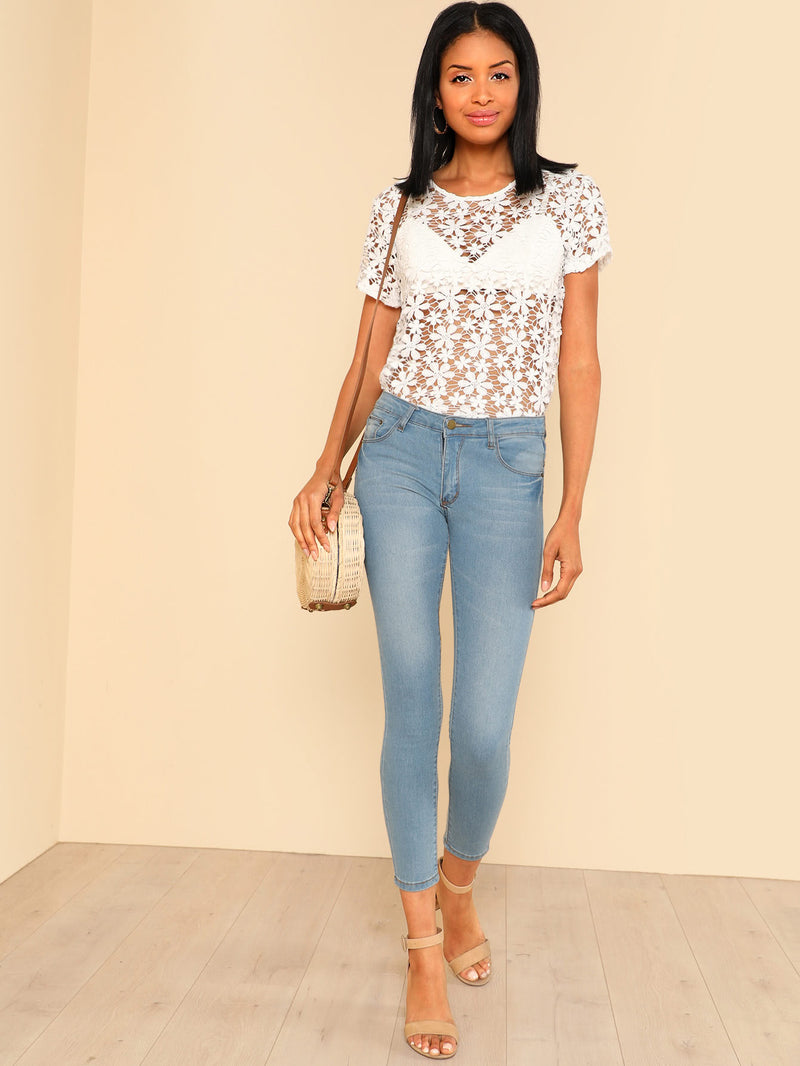 Floral Lace Sheer Top