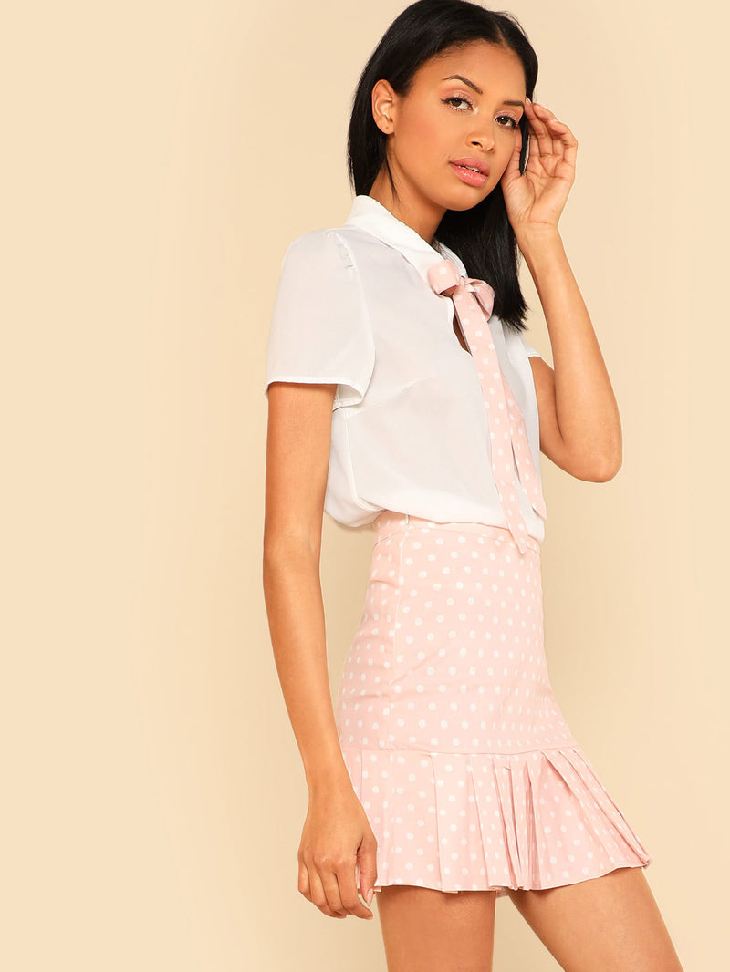 Tie Neck Top & Ruffle Polka Dot Skirt Co-Ord