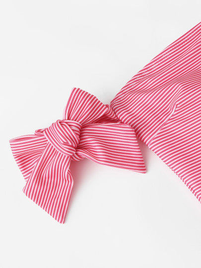 Bow Tie Striped Bardot Swimsuit
