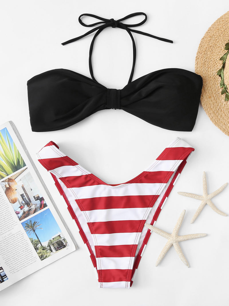 Striped Mix & Match High Leg Bikini Set