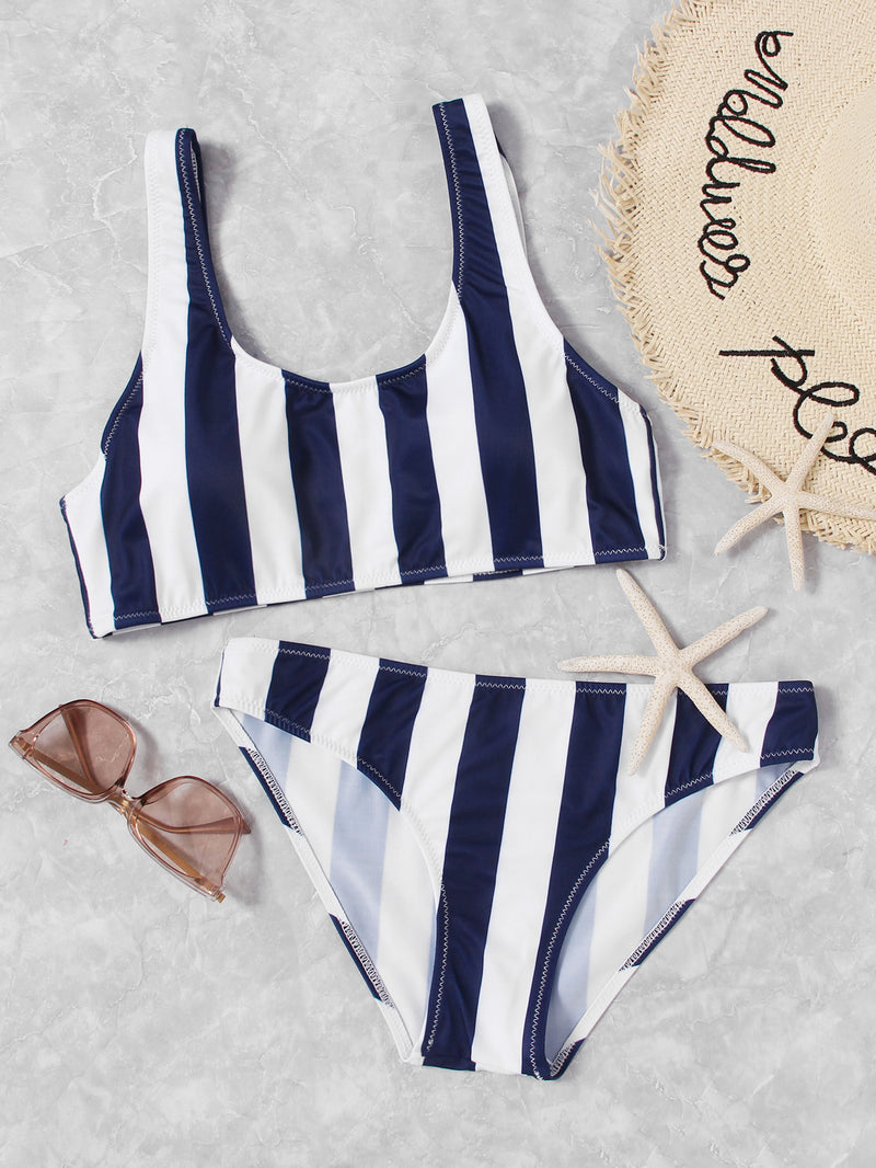 Double Scoop Striped Bikini Set