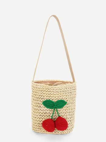 Cherry Decorated Straw Bucket Bag