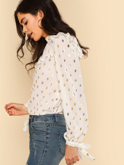 Tie Back And Cuff Gold Dot Print Top