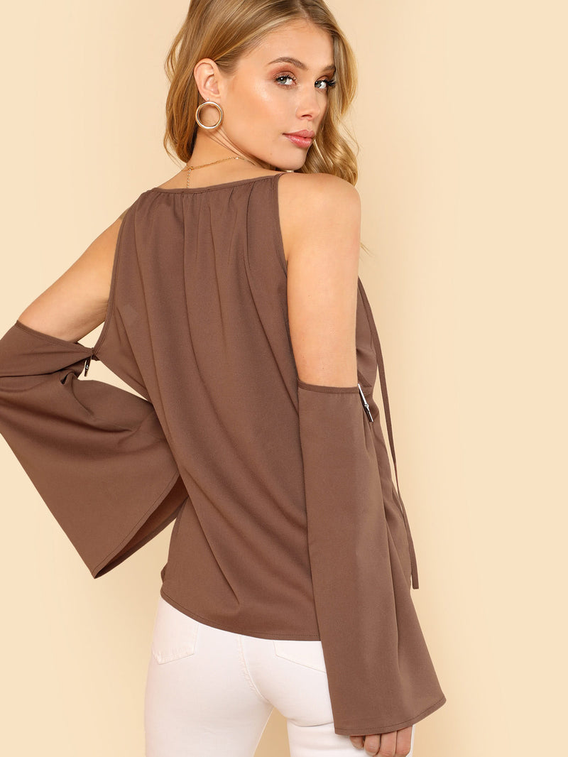 Cold Shoulder Trumpet Sleeve Blouse
