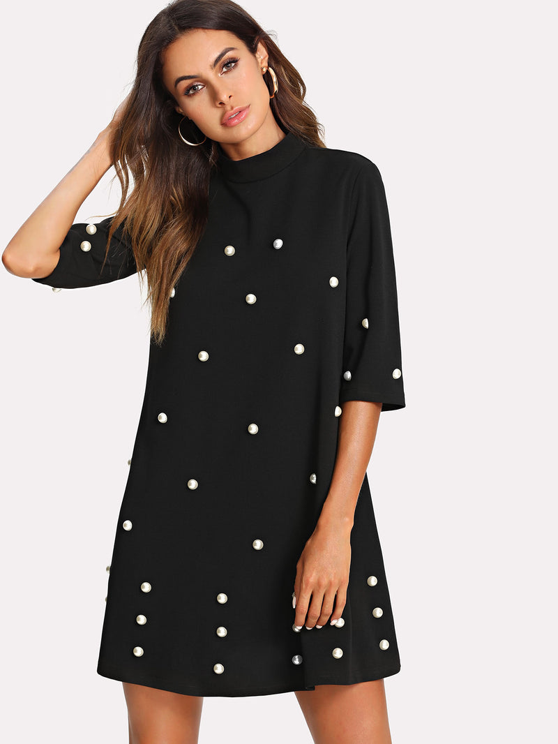 Button Embellished Swing Dress