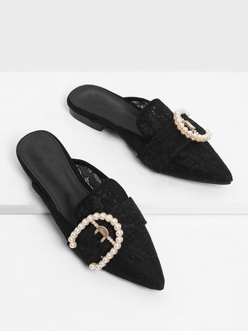 Faux Pearl Pointed Toe Flat Mules