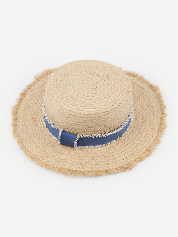 Raw Edge Straw Boater Hat