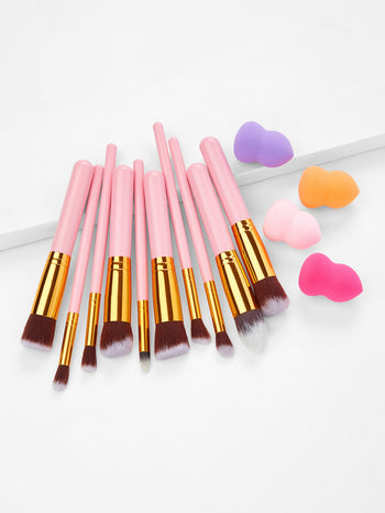 Professional Cosmetic Brush 10Pcs With 4 Puffs
