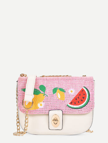 Fruit Embroidered Flap Chain Bag