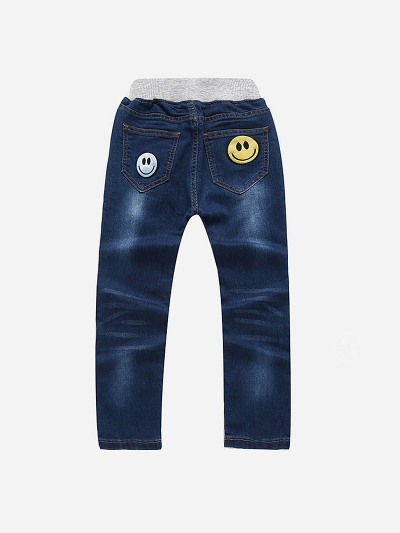 Emoji Embroidered Jeans