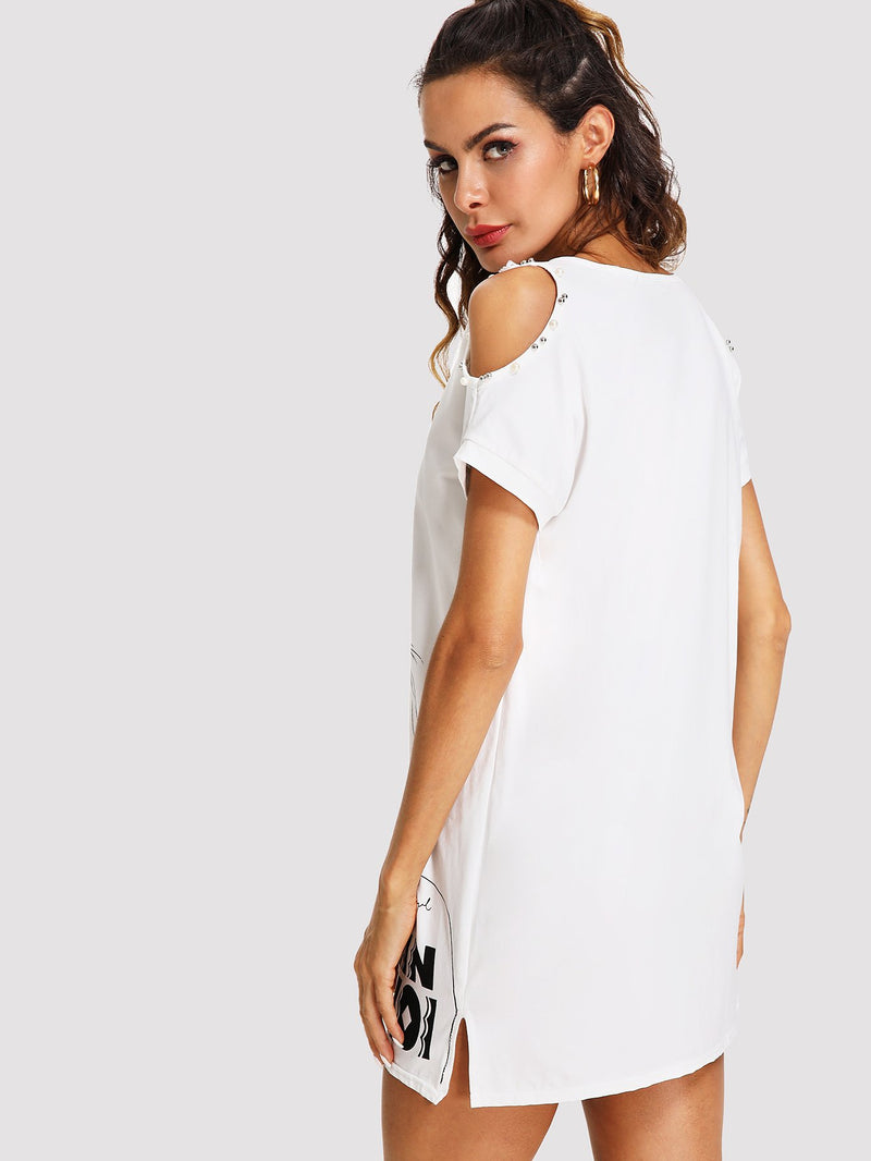 Open Shoulder Figure Print Longline Tee