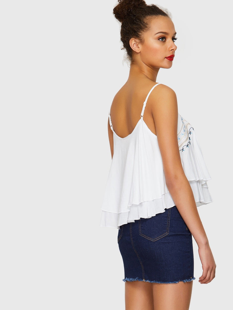 Botanical Embroidery Tiered Cami Top