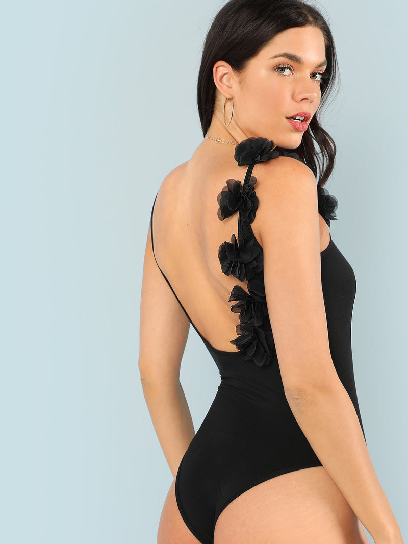 Applique Detail Low Back Bodysuit