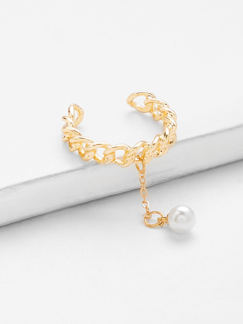 Faux Pearl Chain Shape Ring