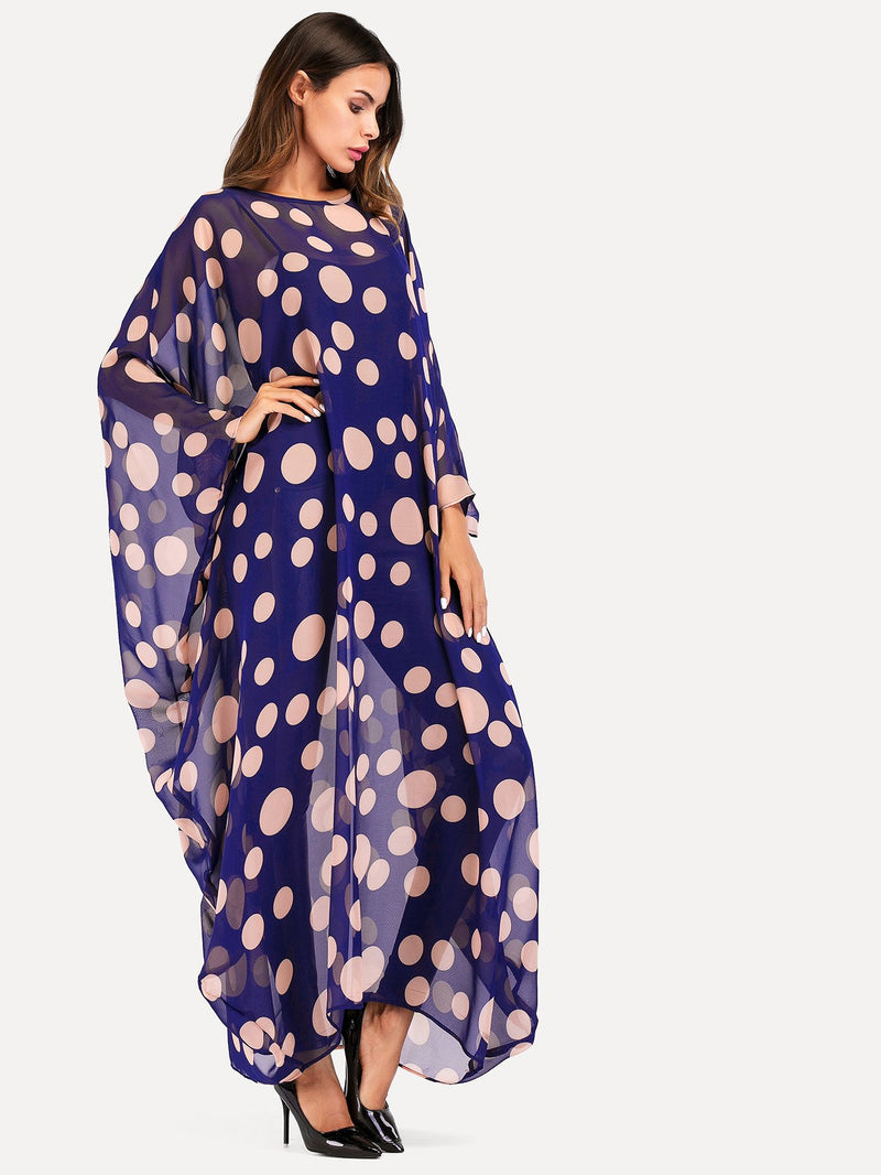 Dot Print Bat Sleeve Cover Up Dress