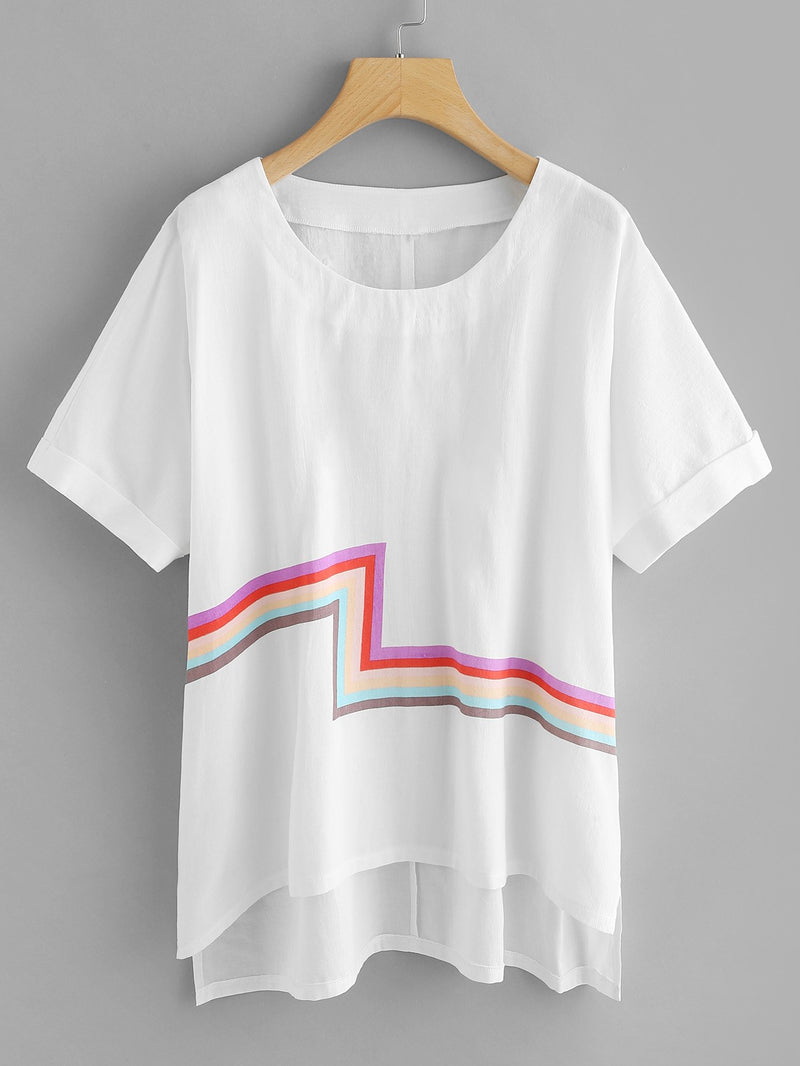 Stripe Contrast High Low Tee