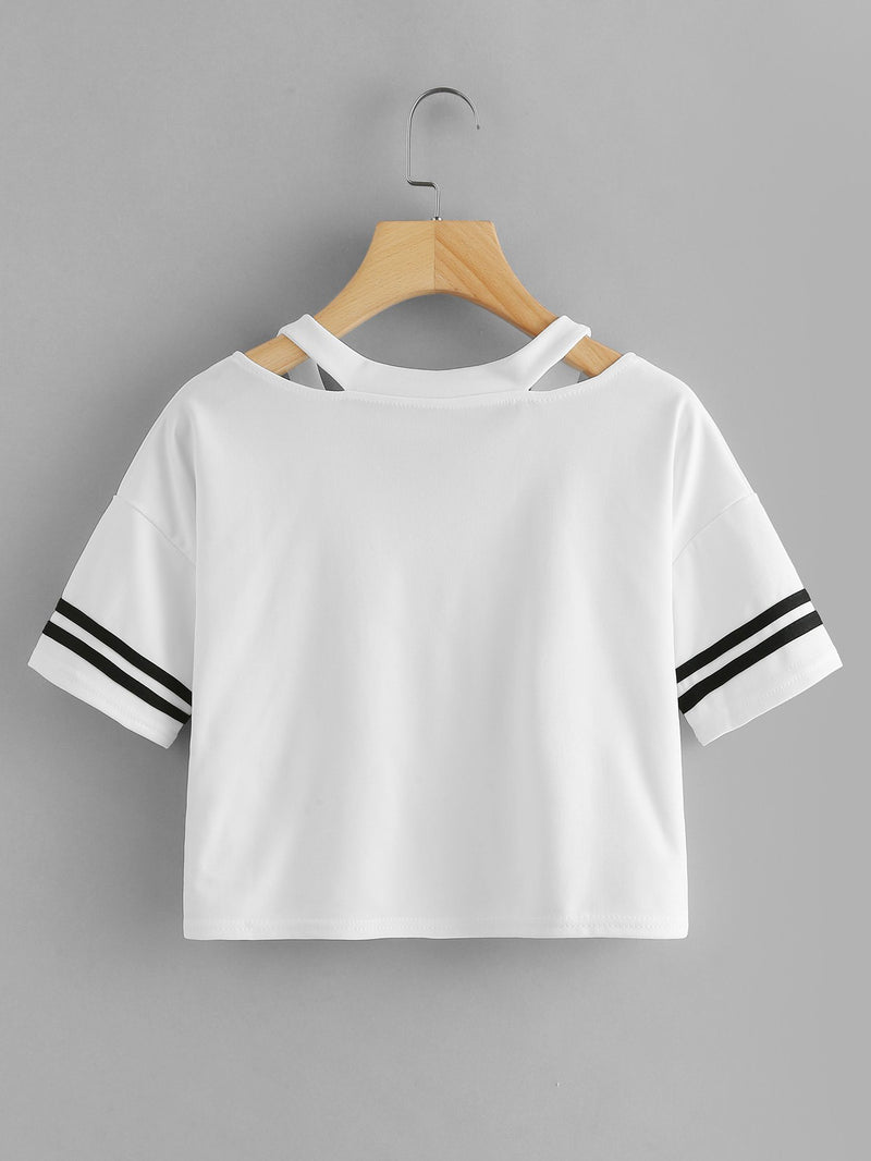Cut Out Neck Crop Tee