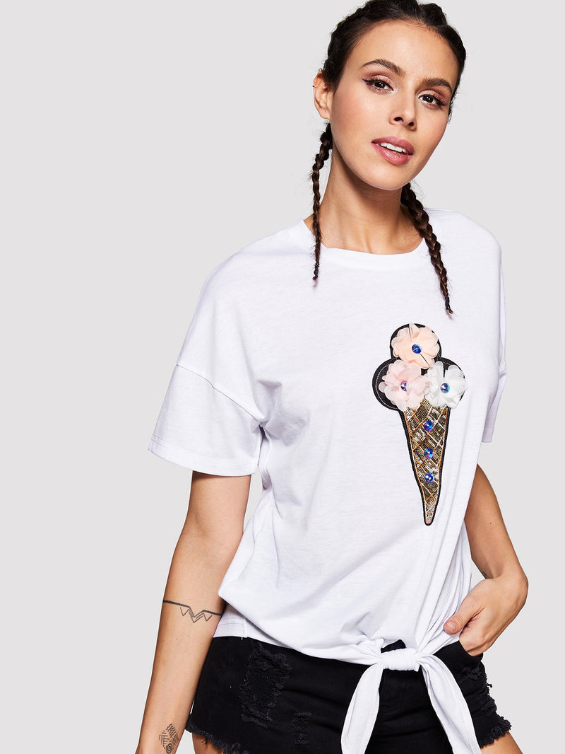 Sequin Ice Cream Patched Knot Front T-shirt