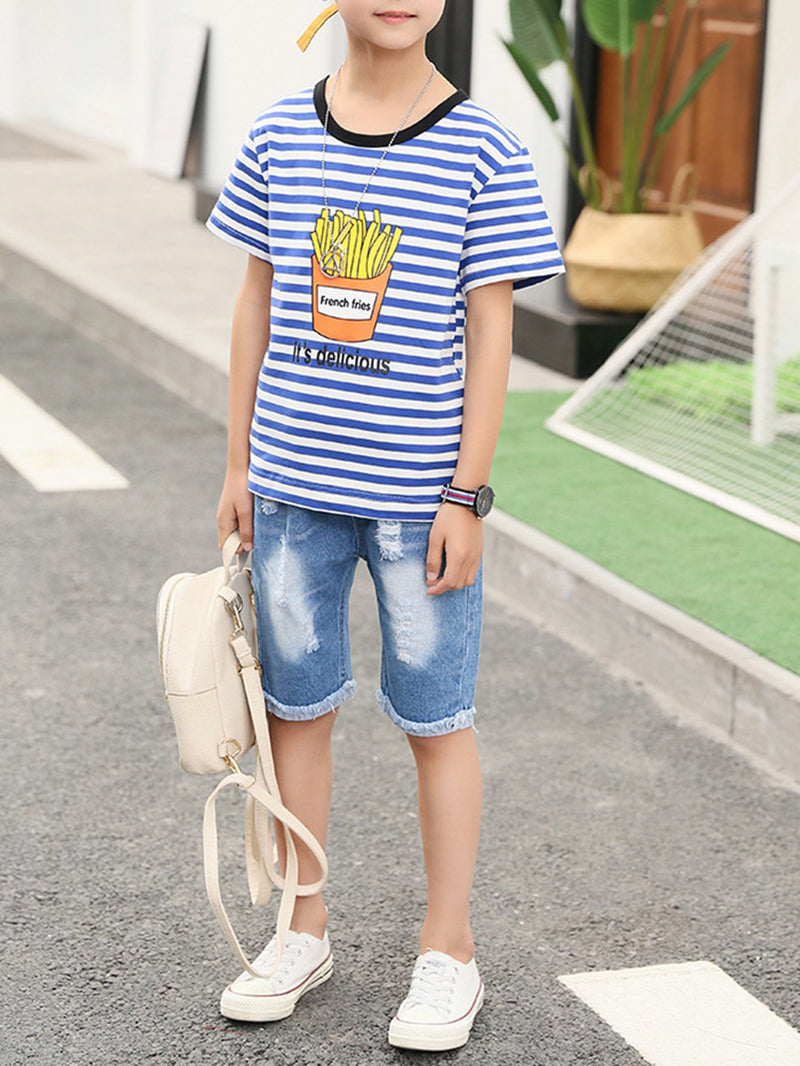Kids Slogan Print Striped Tee With Jeans