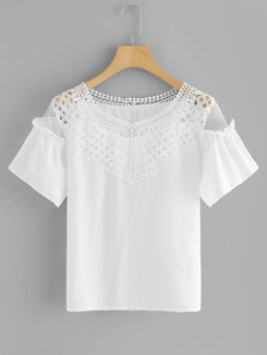 Hollow Out Crochet Panel Blouse