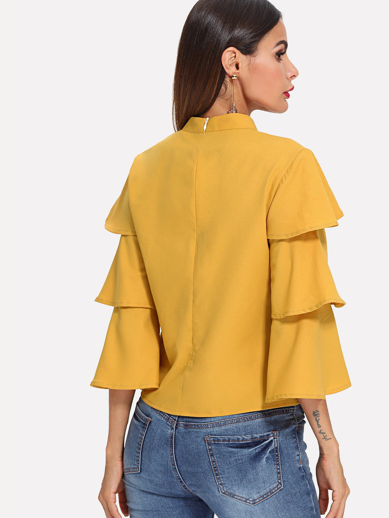 Layered Sleeve Stand Collar Top