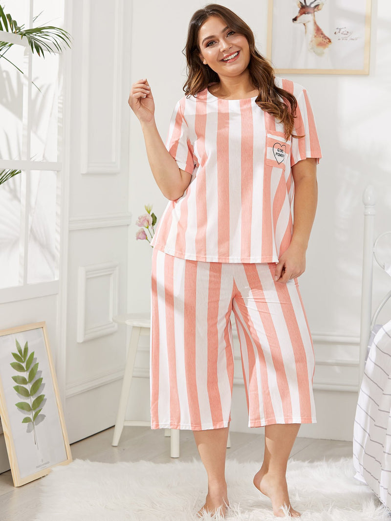 Letter Print Striped Pajama Set