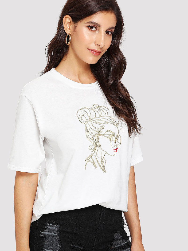 Girl Embroidered Tee
