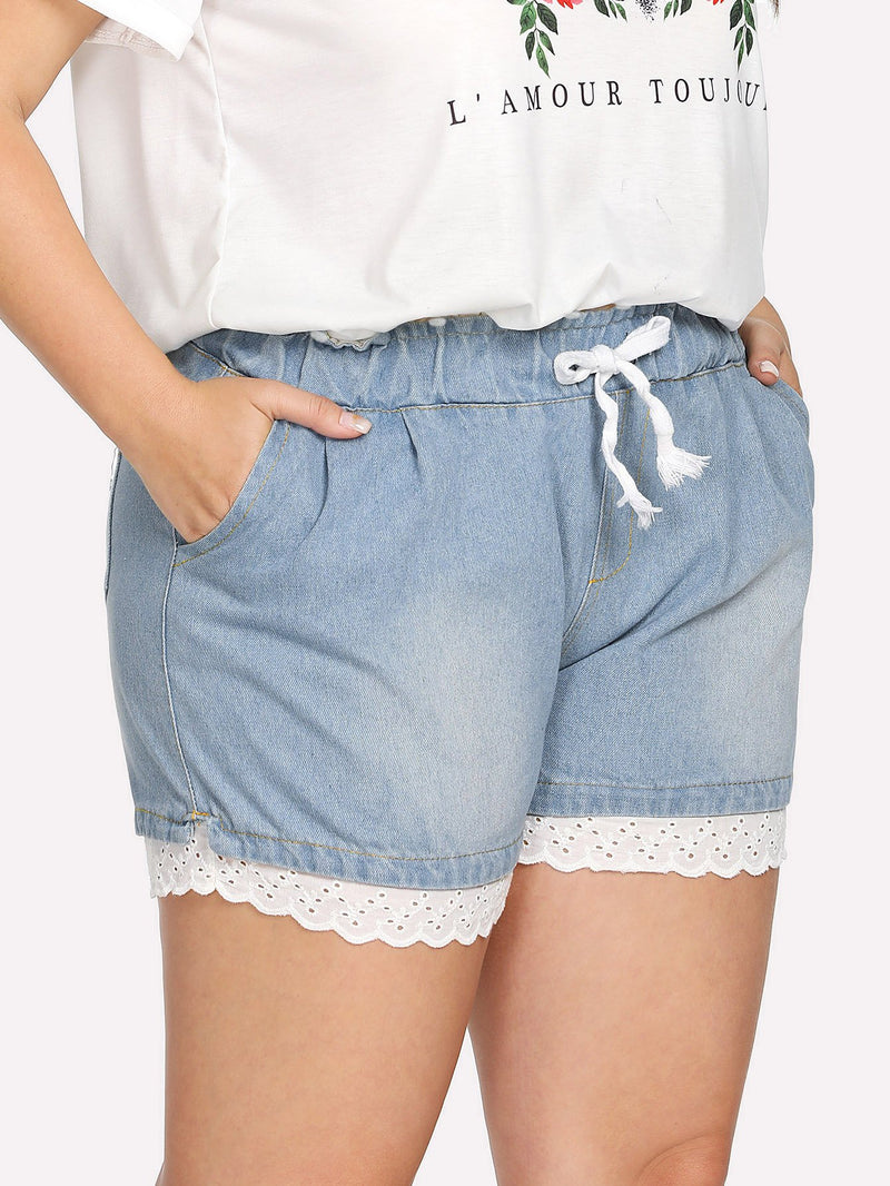 Drawstring Waist Lace Hem Denim Shorts