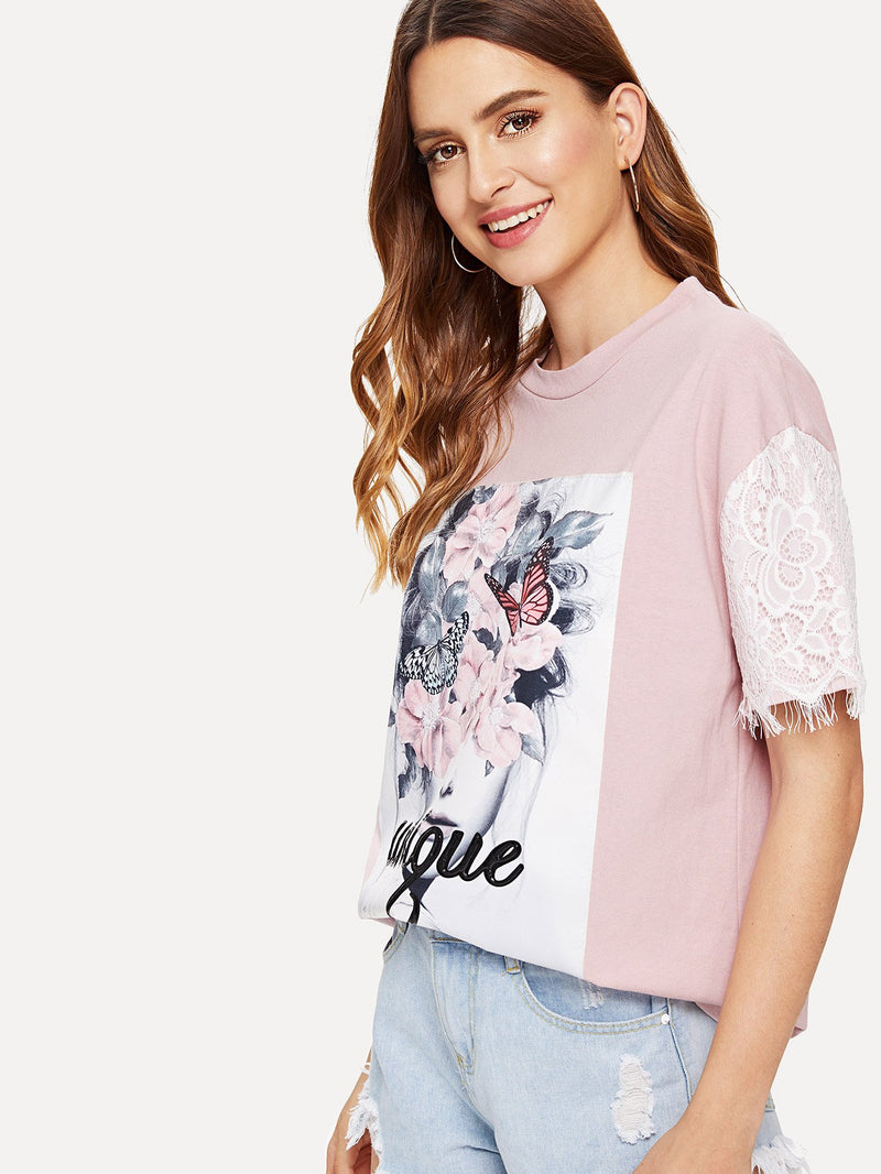 Floral Print Lace Panel Tee